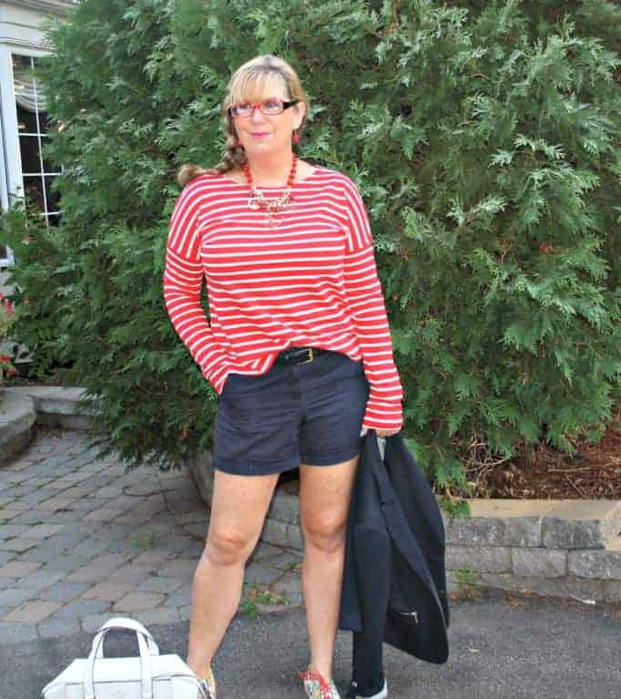 Navy J Crew shorts and a blazer with Kate Spade Beau bag