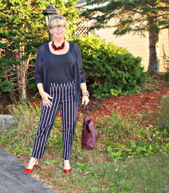 Harper pants and open weave cardigan