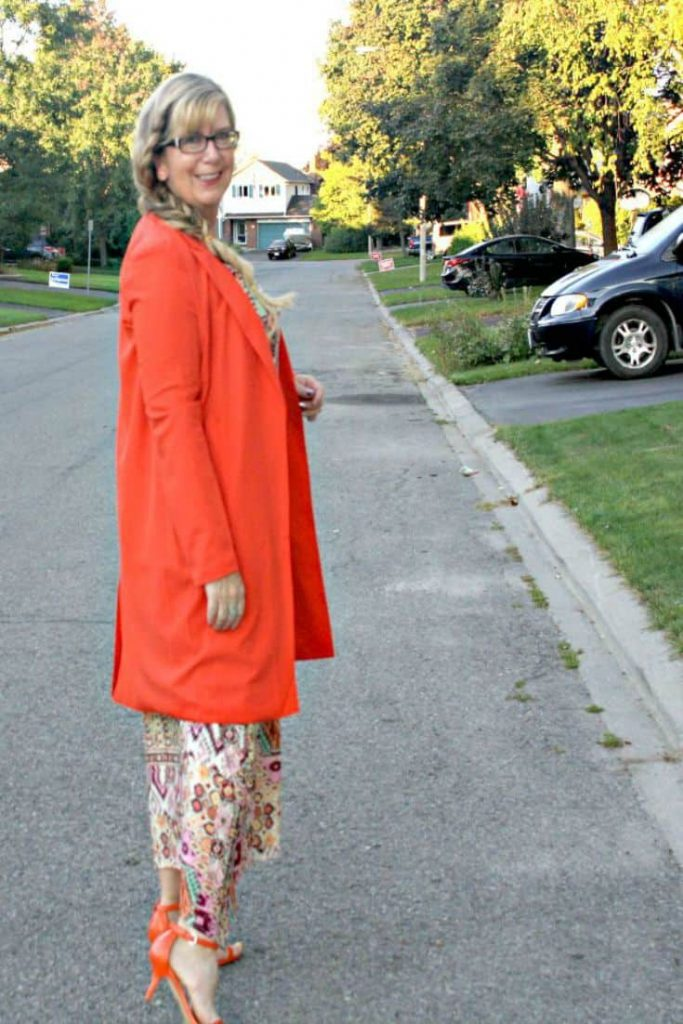 Shein Orange lapel coat