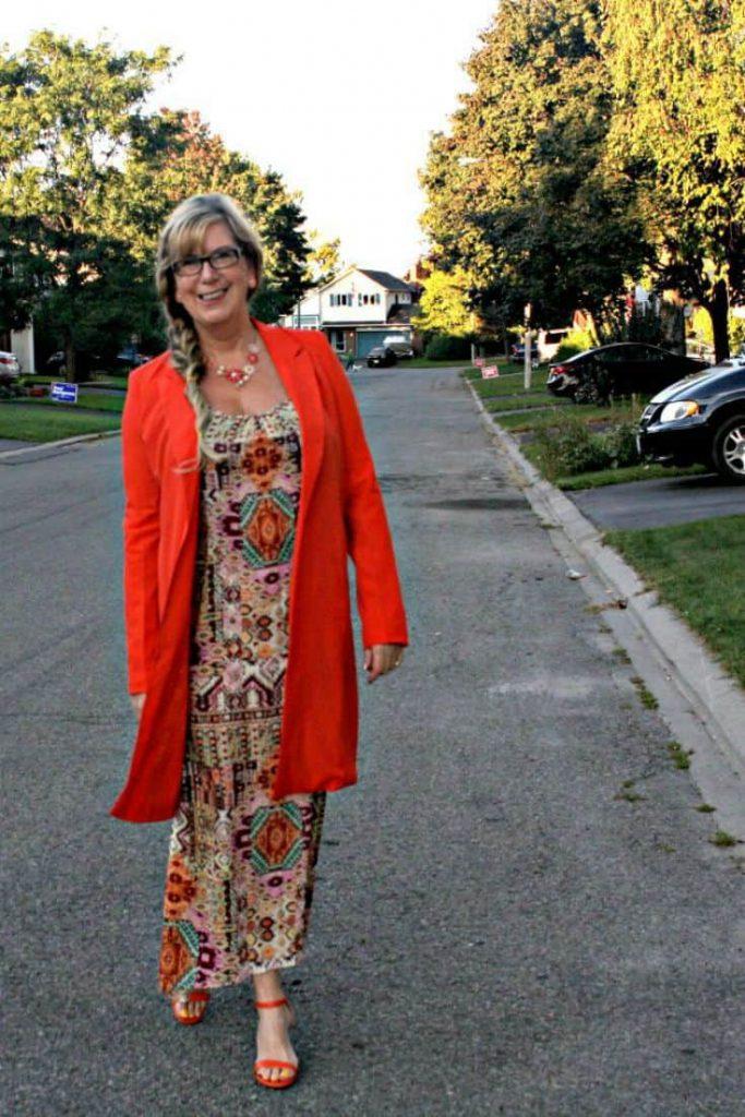Orange coat and tribal sundress from Target