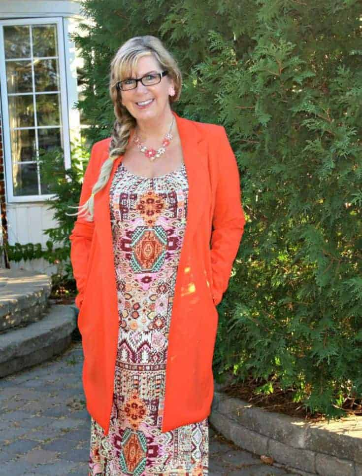 peach and orange floral necklace with Shein Coat