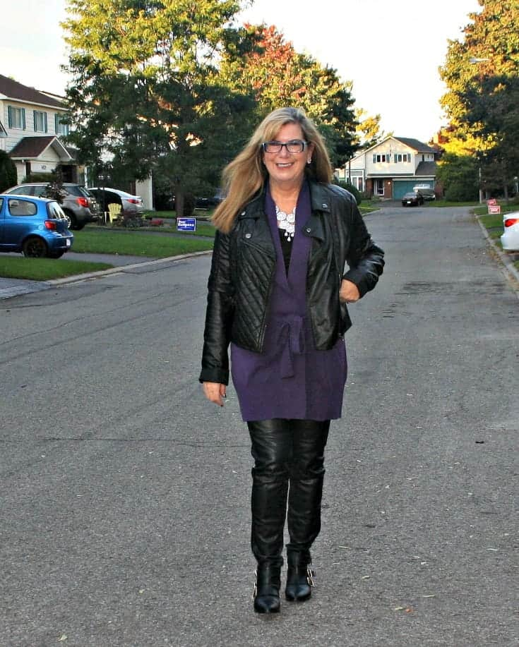 H & M Leather leggings and Moto Jacket with Long belted WoolOver Cardigan