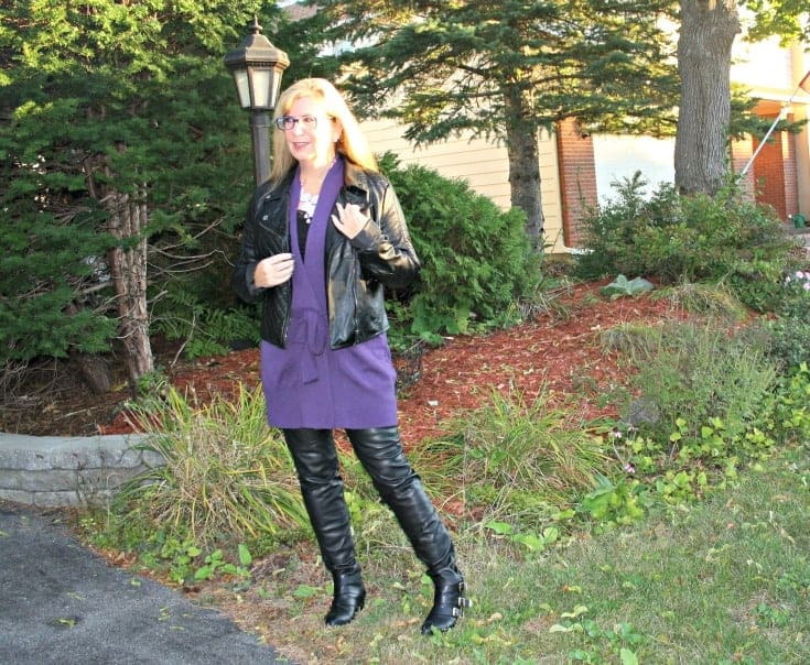 Moto Jacket with Long belted WoolOver Cardigan
