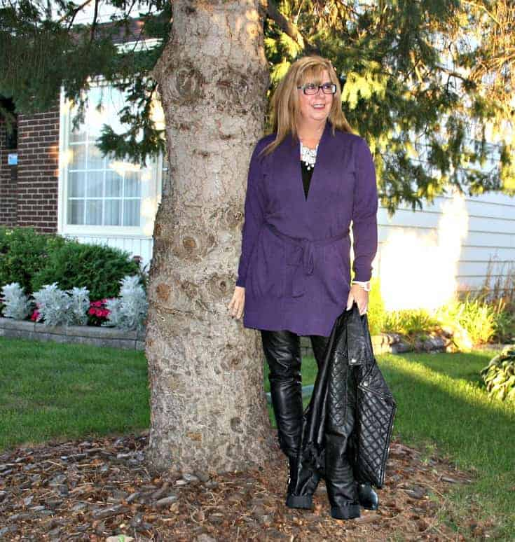 Leather leggings and  Long belted WoolOver Cardigan