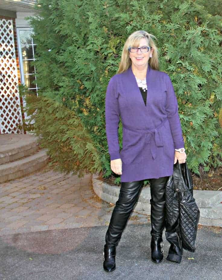 WoolOver belted Blueberry Cardigan and leather leggings
