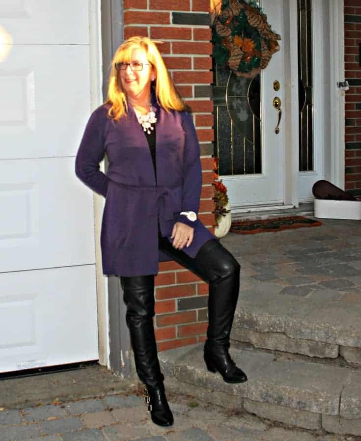 Long belted WoolOver Cardigan in Blueberry