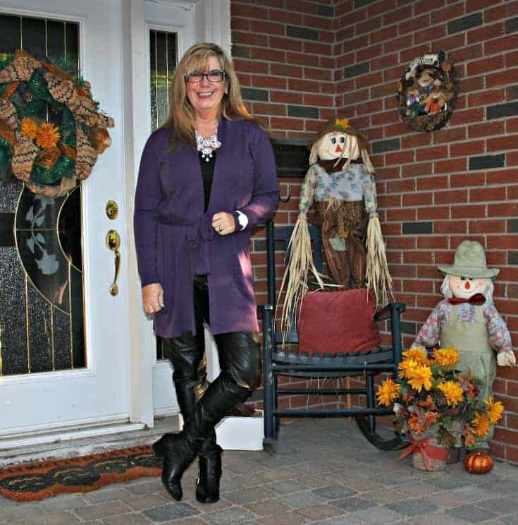 Leather leggings and Forever 21 boots with Long belted WoolOver Cardigan