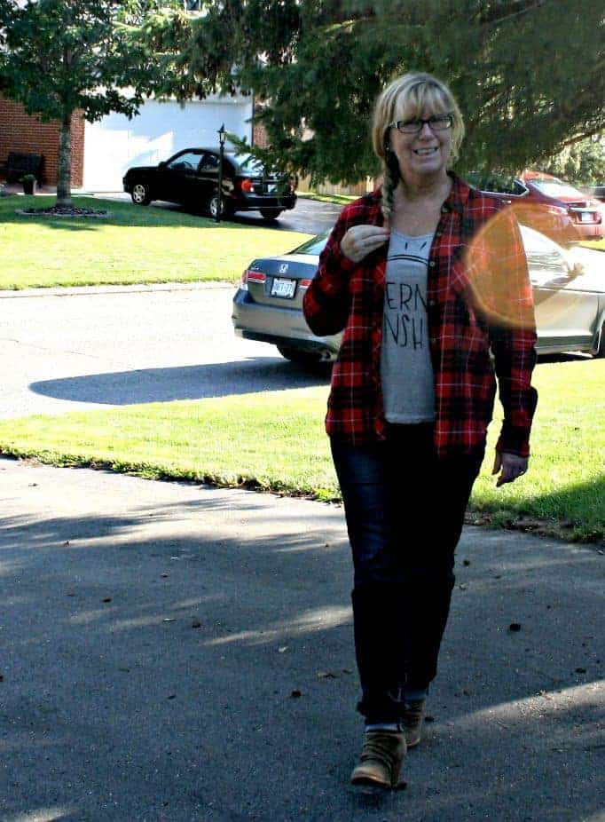 haggar dream jeans and a buffalo plaid shirt from F21