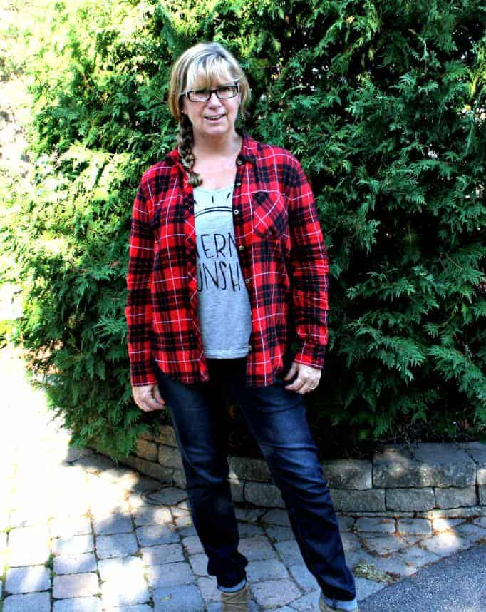 haggar dream jeans and a buffalo plaid shirt and rodeo boots
