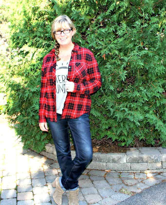 haggar dream jeans and a buffalo plaid shirt in red and black