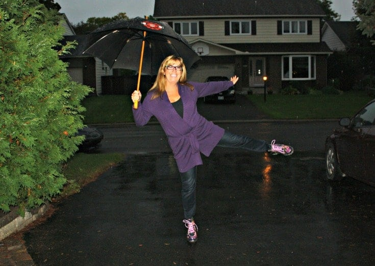Long belted WoolOver Cardigan in Blueberry with Haggar Dream Jeans and George Floral Rainboots