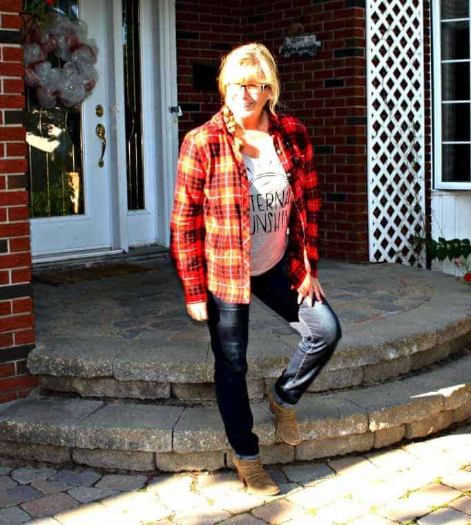 eternal sunshine in haggar dream jeans and a buffalo plaid shirt