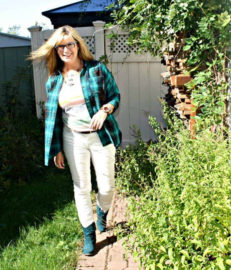 Green Flannel and green boots from Shoe Dazzle