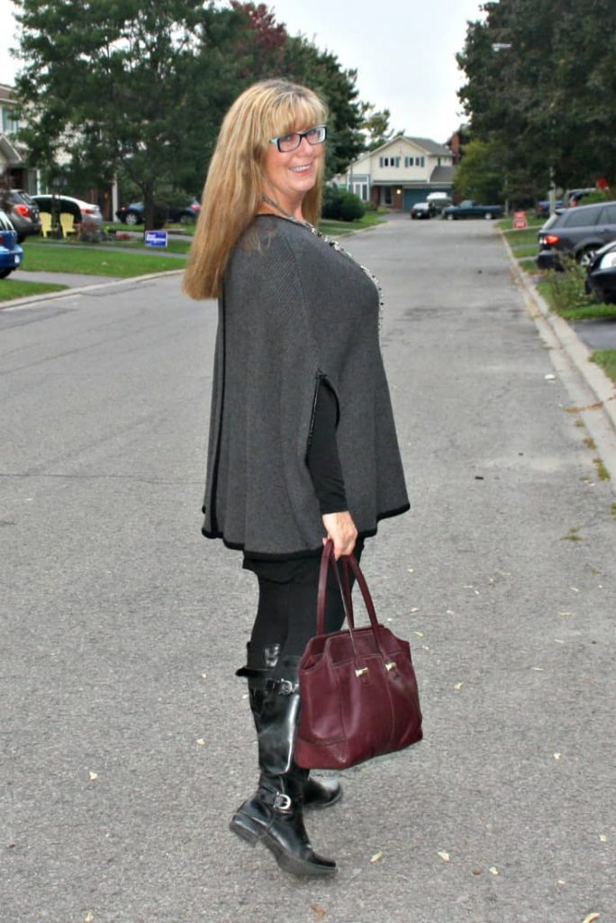 Poncho and LBD with boots