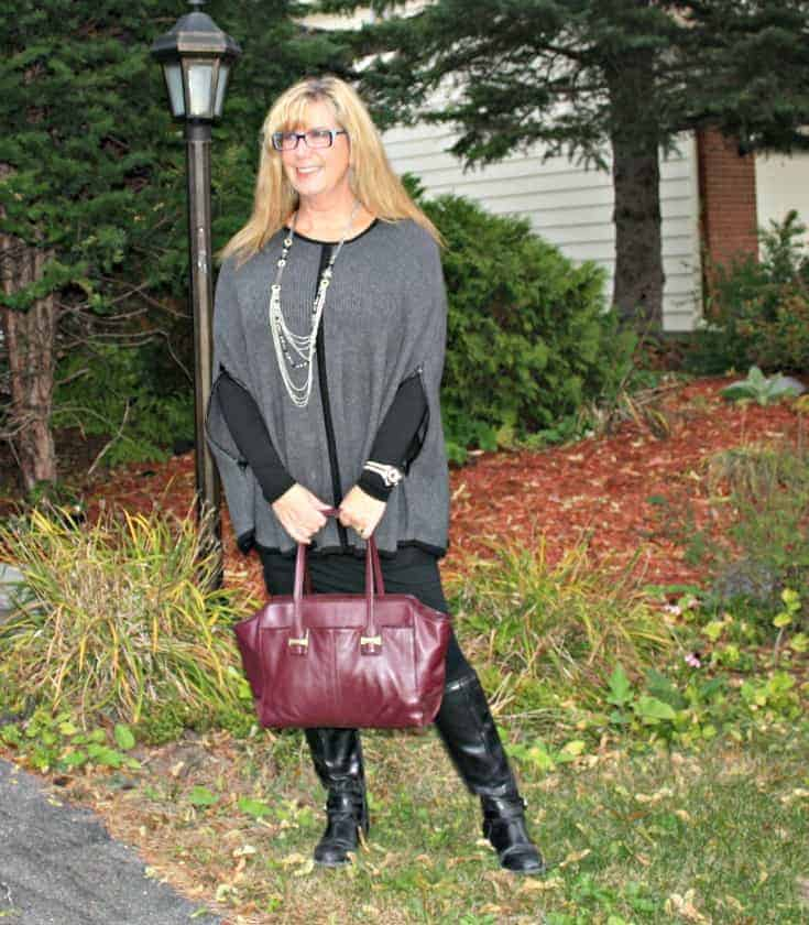 Forever 21 Poncho,GH Bass Boots and Coach purse