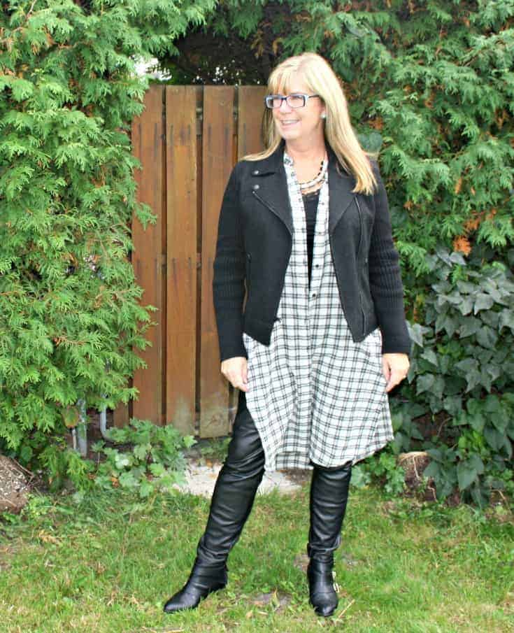 moto jacket and houndstooth duster with leather leggings