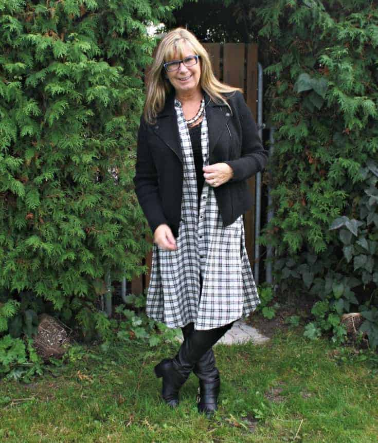 moto jacket and houndstooth duster with leather leggings and booties