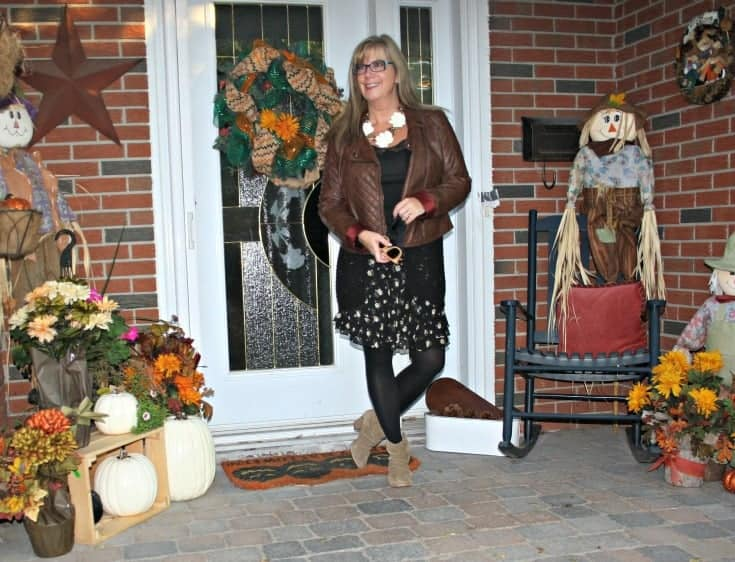 Rodeo Boots, moto jacket and floral chiffon skirt, with konifer glasses and a happiness boutique necklace