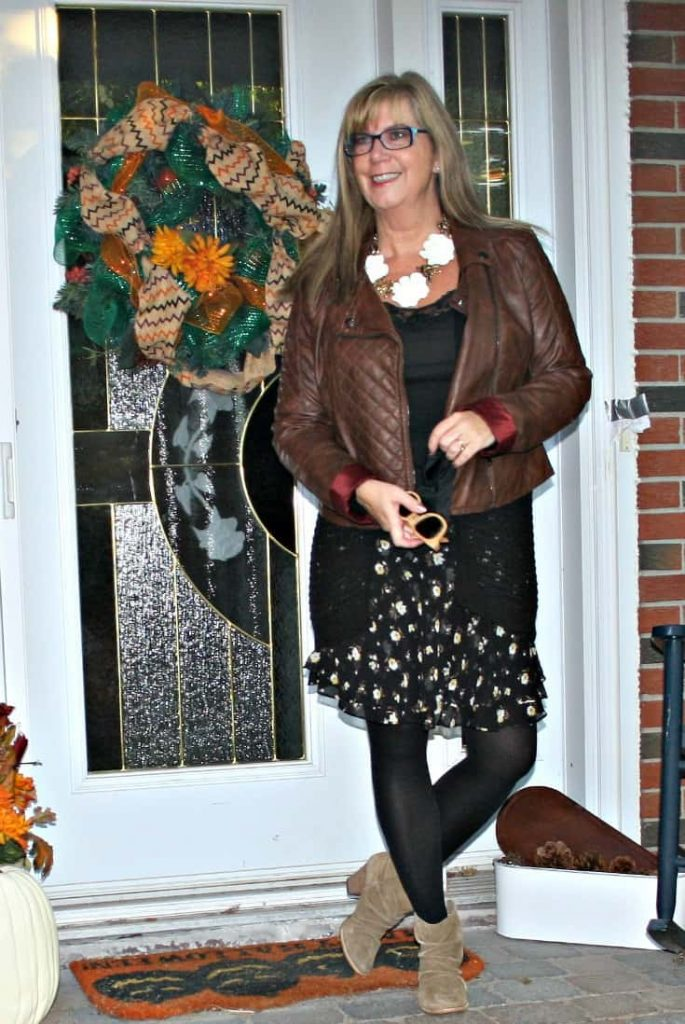 moto jacket and floral chiffon skirt, and a happiness boutique necklace and rodeo boots