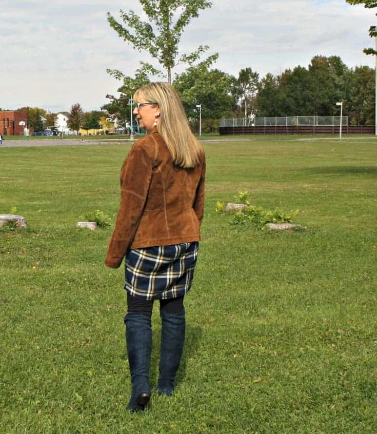 Blue suede boots from Giant tiger and Old Navy Plaid Dress with Danier Leather jacket
