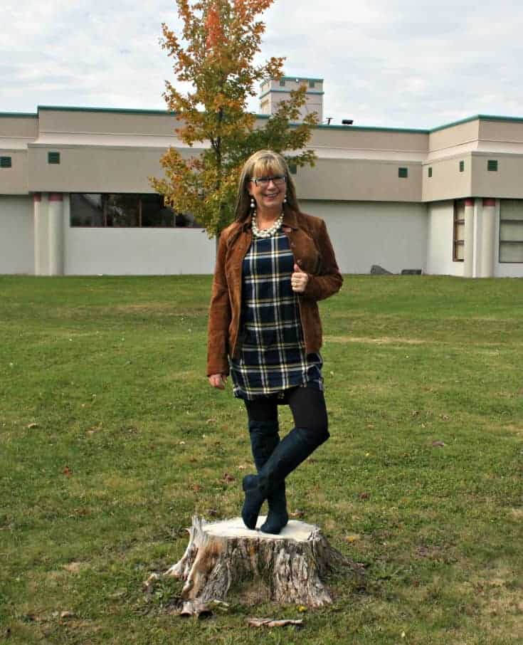 Old Navy Plaid Dress and Danier Leather suede cognac jacket