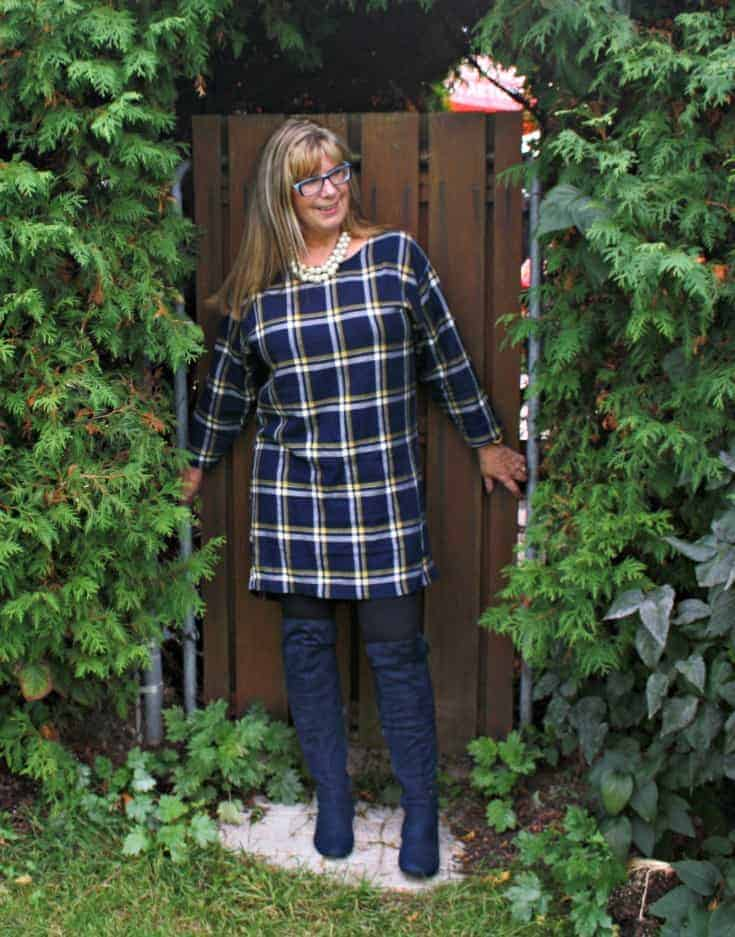 Blue suede boots from Giant tiger with MK leggings and Old Navy Plaid Dress