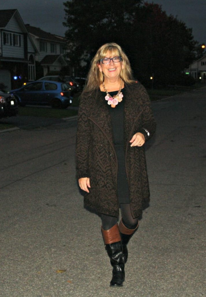 joe fresh cardigan and lbd with yosa necklace