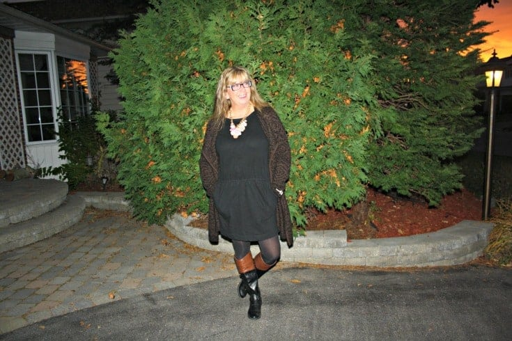 Banana republic lbd and joe fresh cardigan with yosa necklace
