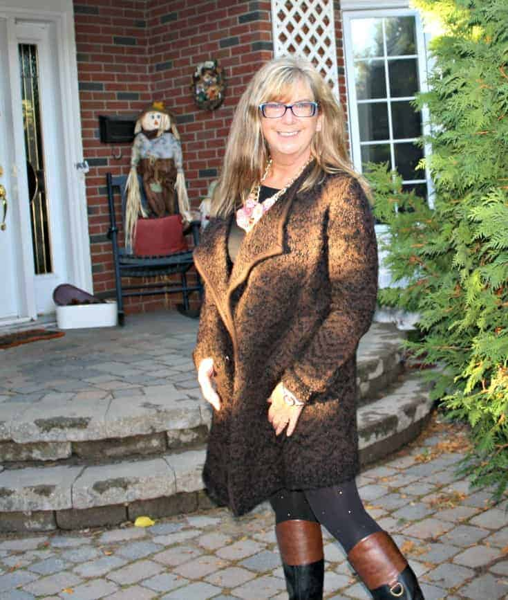 tweed cardigan and two tone boots