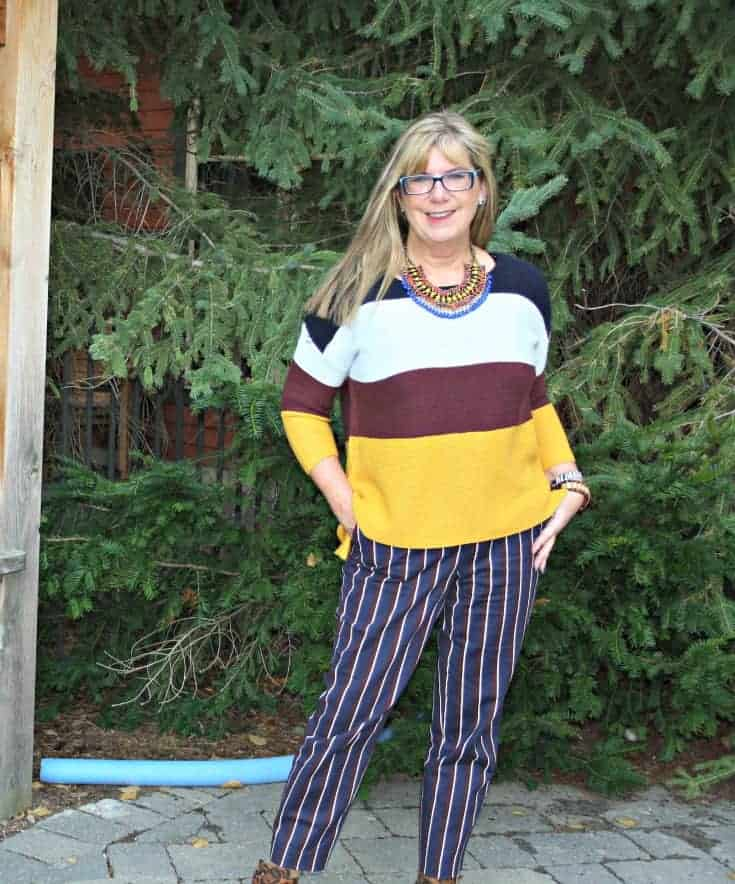 Old Navy Harper pants, striped sweater and look book necklace