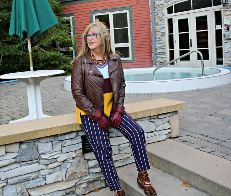 Old Navy Harper pants, striped sweater and leopard boots and a moto Jacket at Blue Mountain Resort