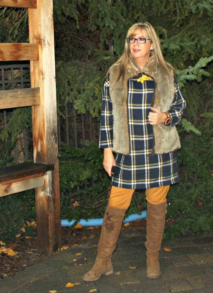 Old navy plaid tunic and pixie pants with a fur vest with Shoe dazzle OTK boots