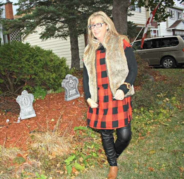 Old Navy Buffalo Check Dress, Gap Fur Vest and H & M leather leggings with Forever 21 booties.