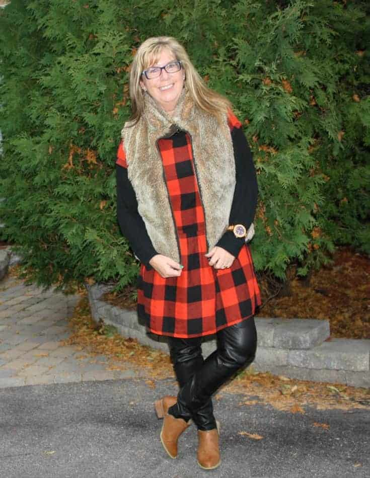 H & M leather leggings with Forever 21 booties and a checked dress