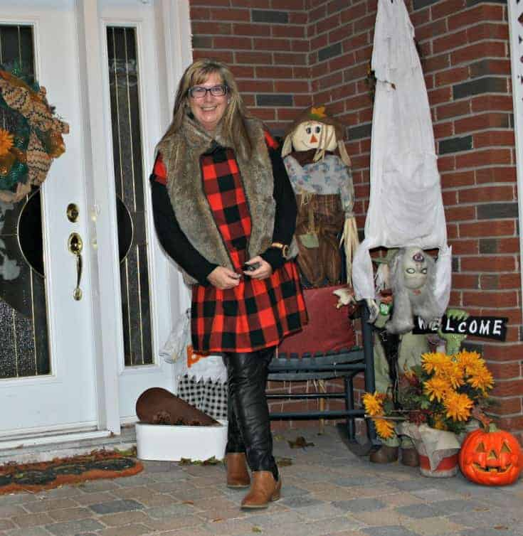 Buffalo Check Dress, Gap Fur Vest and H & M leather leggings with Forever 21 booties.