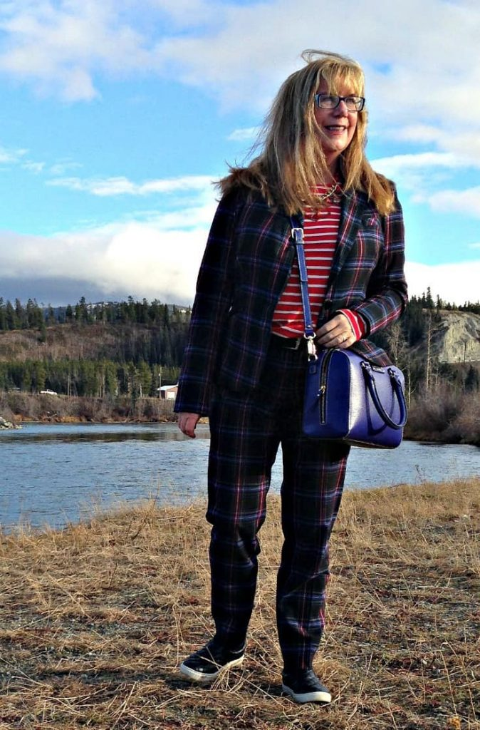 Target Plaid suit and Old Navy striped top and a kate spade bag