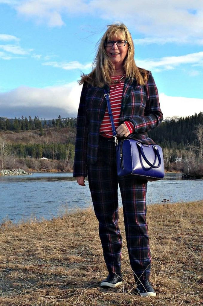 Target Plaid suit and Old Navy red striped top with anchor necklace