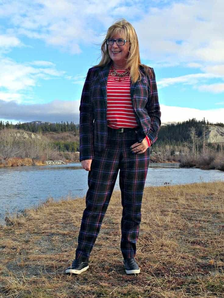 Target Plaid suit and Old Navy striped top and shoe dazzle quilted loafers