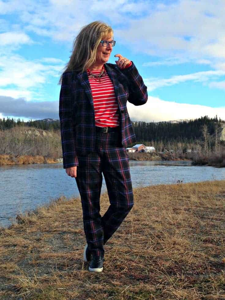 Target Plaid suit and Old Navy red striped top