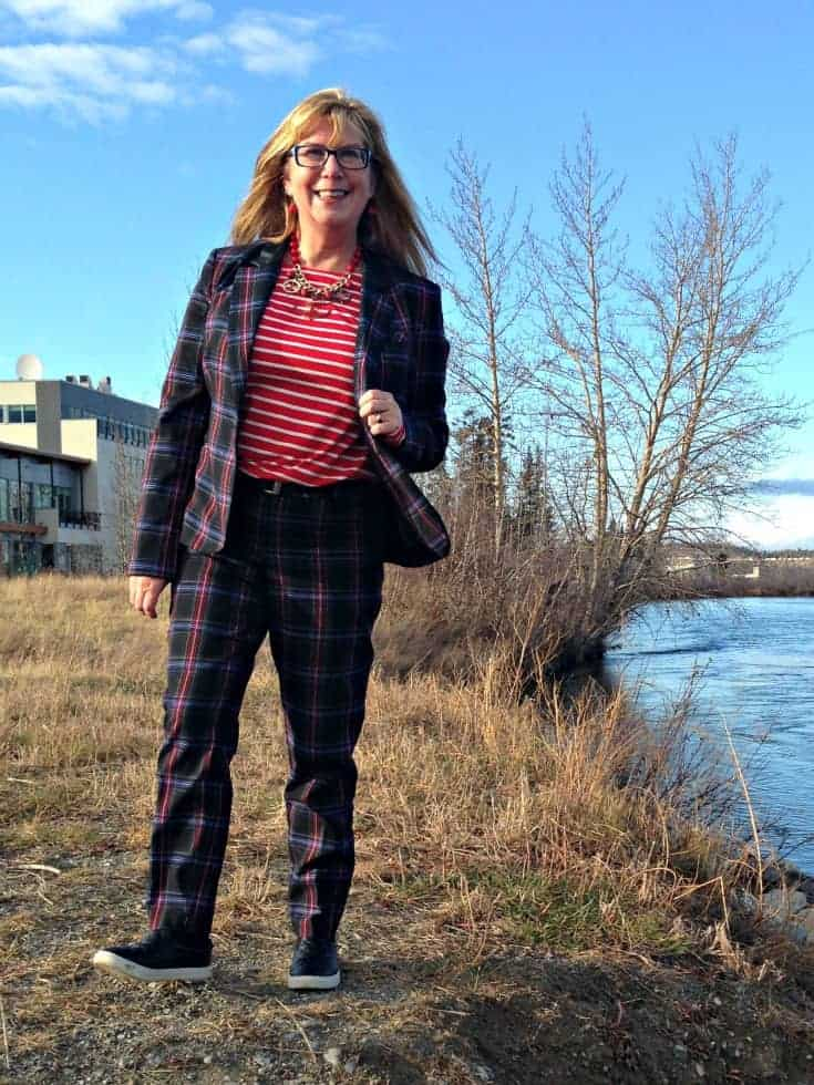 Shoe dazzle quilted loafers and Target Plaid suit and Old Navy striped top