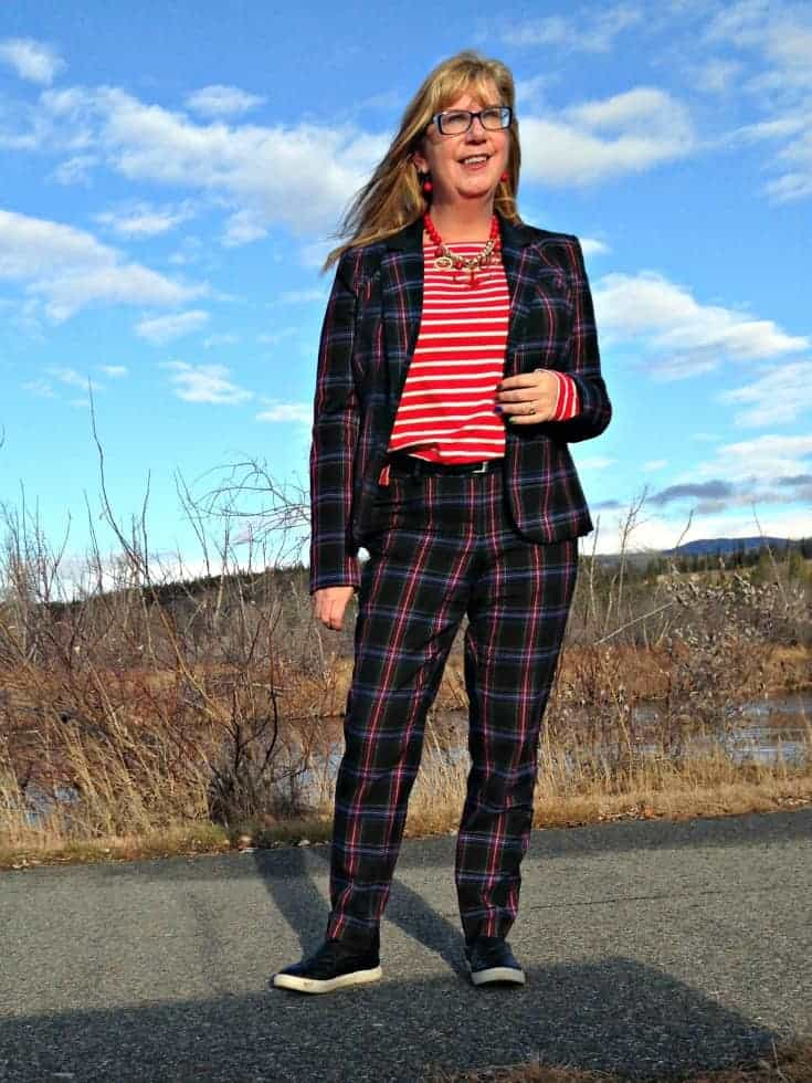 Target Plaid suit and Old Navy striped top