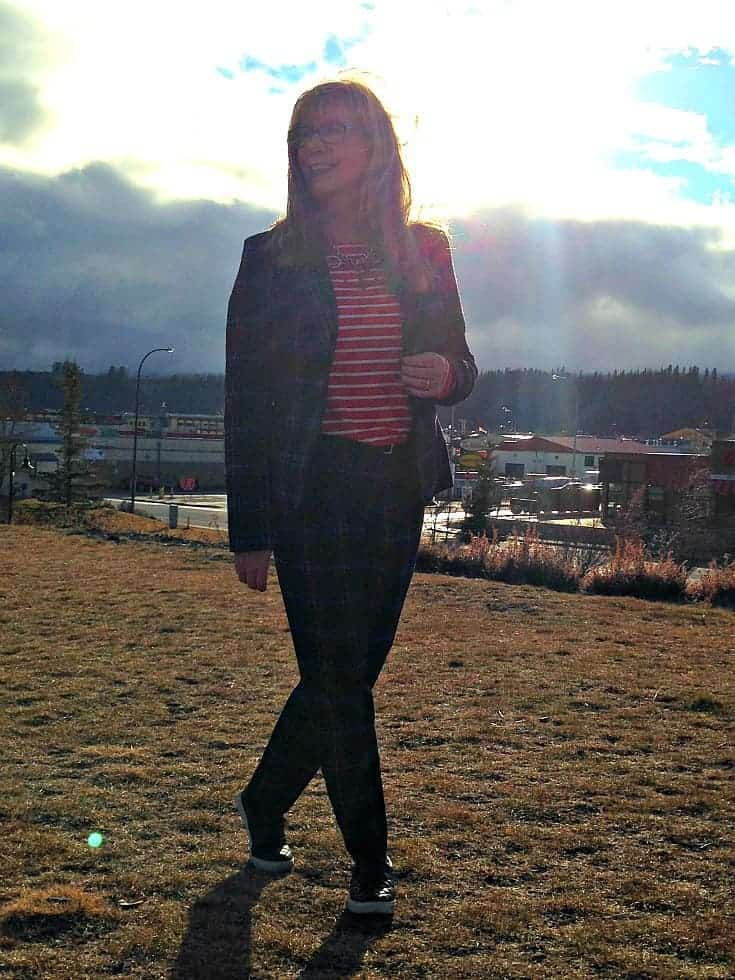 Target Plaid suit and striped top in Whitehorse