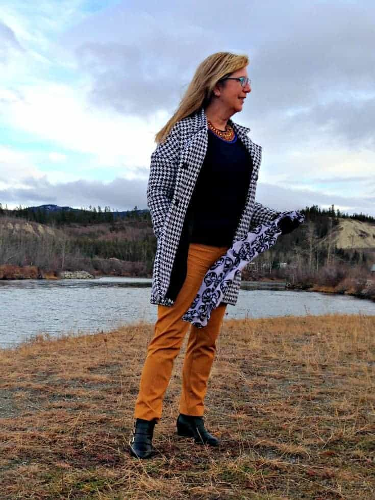 Shein Houndstooth Coat, a lookbook necklace and Yosa Skull scarf