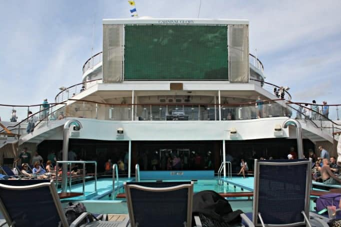 main pool deck on the Carnival Glory