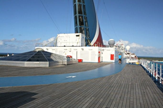Track on the upper level of the Carnival Glory