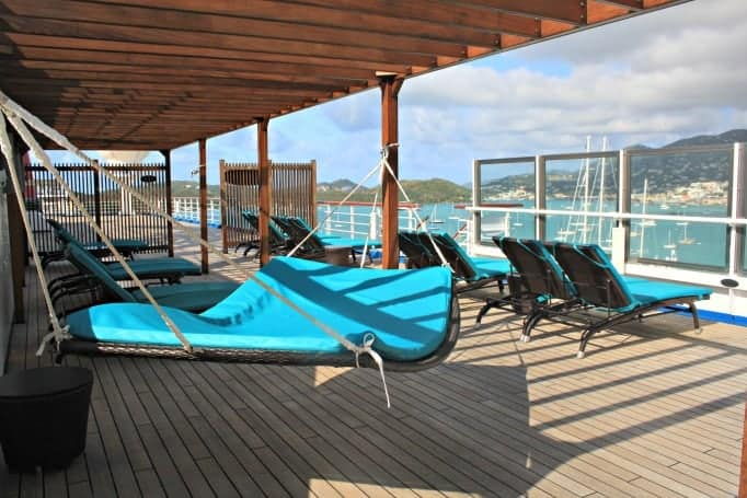Hammocks in the Serenity Area on the Carnival Glory
