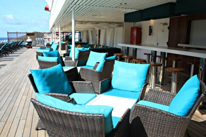 sitting area in the Serenity Area on the Carnival Glory
