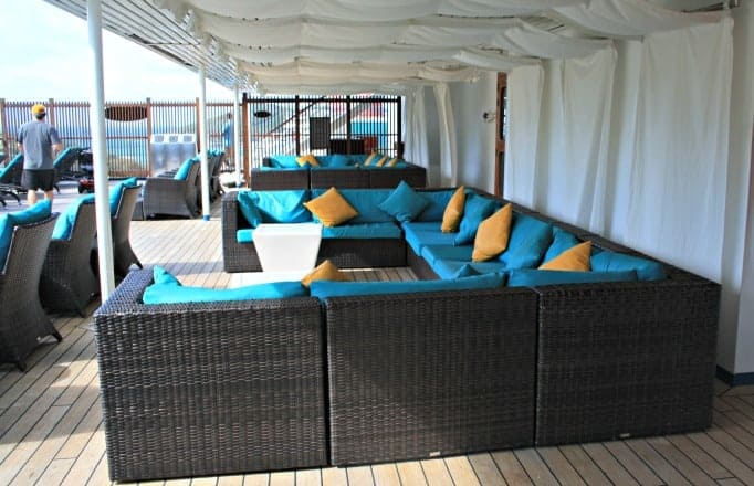Lounge section in the Serenity Area on the Carnival Glory