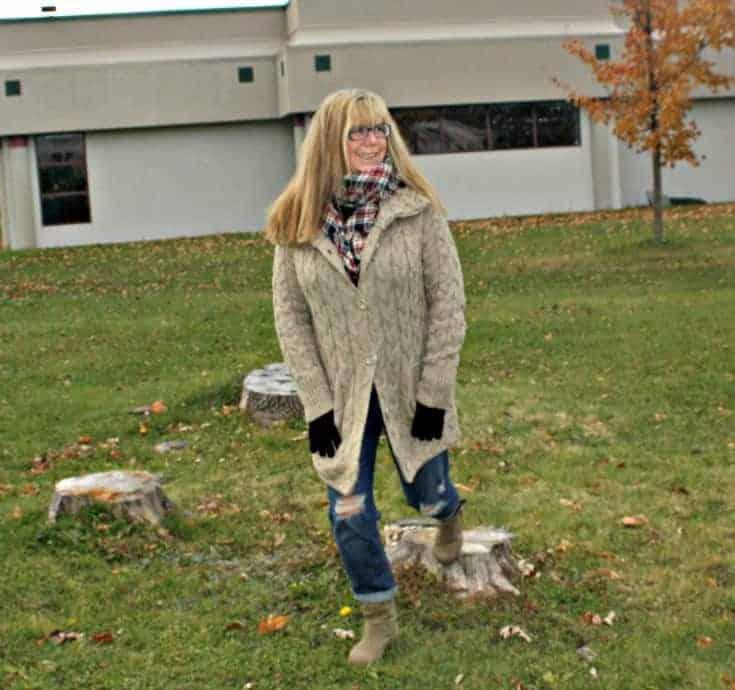 Hudson Bay Company sweater and plaid scarf