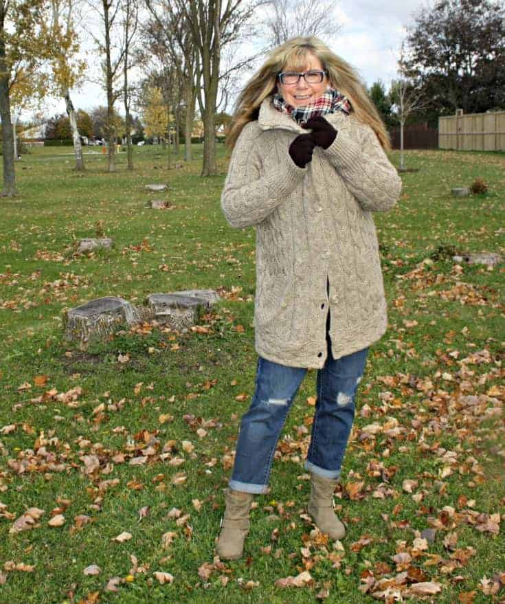 Hudson Bay Company cable sweater and plaid scarf with Old Navy Boyfriend jeans